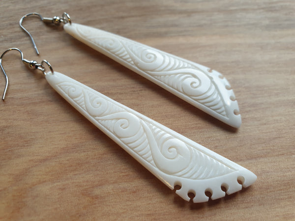 Bone triangle carved earrings