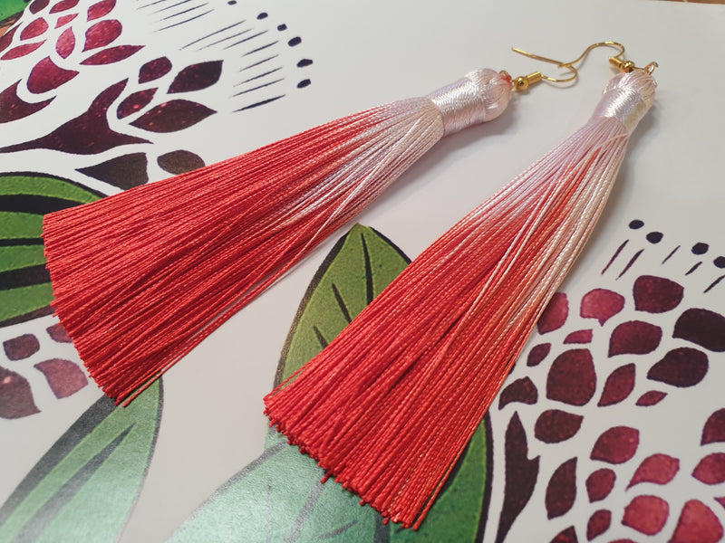 Silk tassel earrings assorted dipped colours