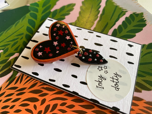 Inky Dotty Starry Heart brooch