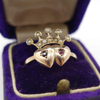 DOUBLE HEART RING - USA antique ring【040】