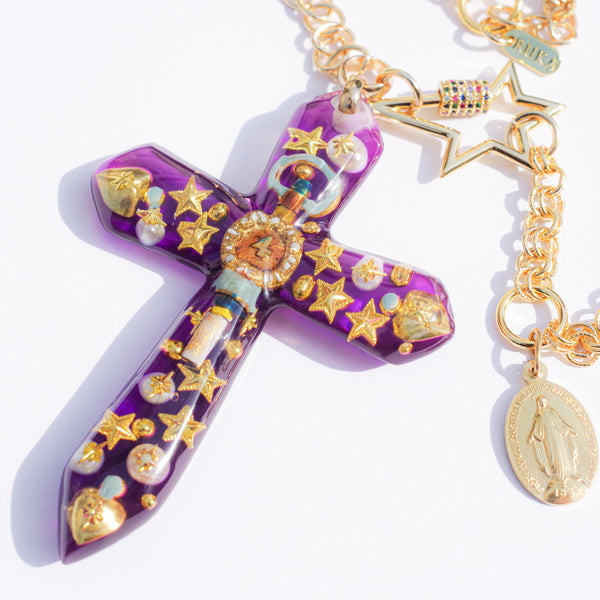 CROSS NECKLACE -purple-