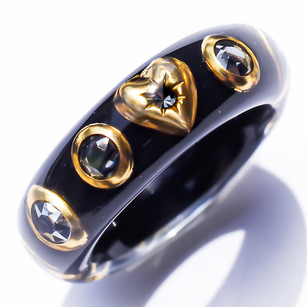 SLIM HEART RING -black-