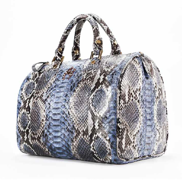 [SERENDIEM] PYTHON BOSTON BAG ALICE BLUE