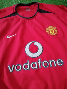 Manchester United Home Shirt 2002 2004 Dual Layer L
