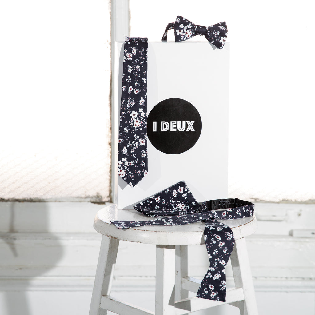 Floral Black & White Printed Bow Tie (Self Tie)