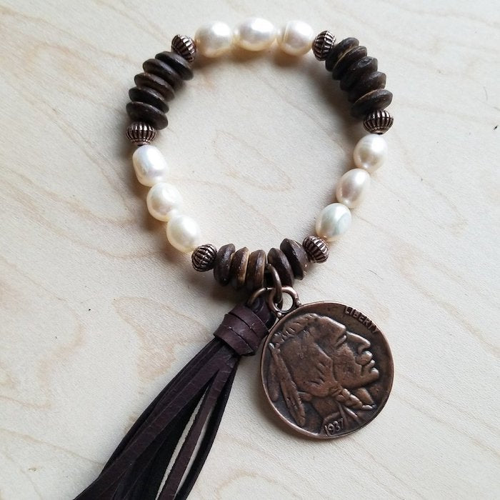 Freshwater Pearl & Wood Indian Head Bracelet