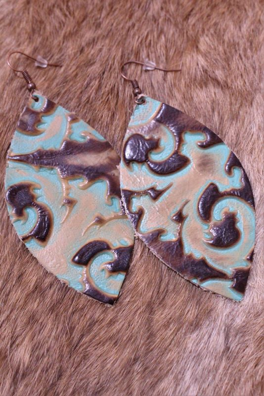 King Turquoise Floral Leather Dangles