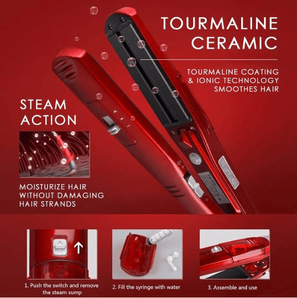 2-in-1 Ceramic Steam Hair Straightener--free shipping