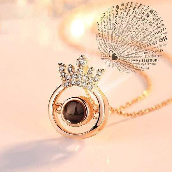 "100 Languages ""I LOVE YOU"" Crown Necklace,Ring"