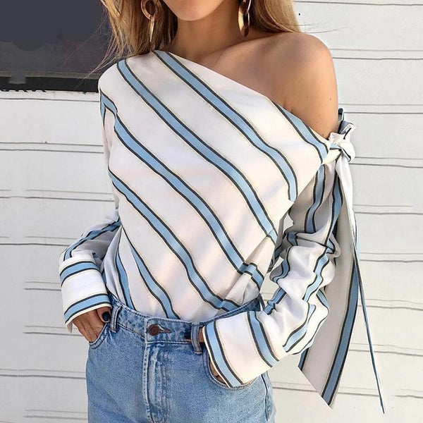 Striped Long Sleeve One Shoulder Tops