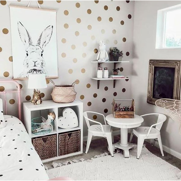 Gold Polka Dots Kids Room Baby Room Wall Stickers