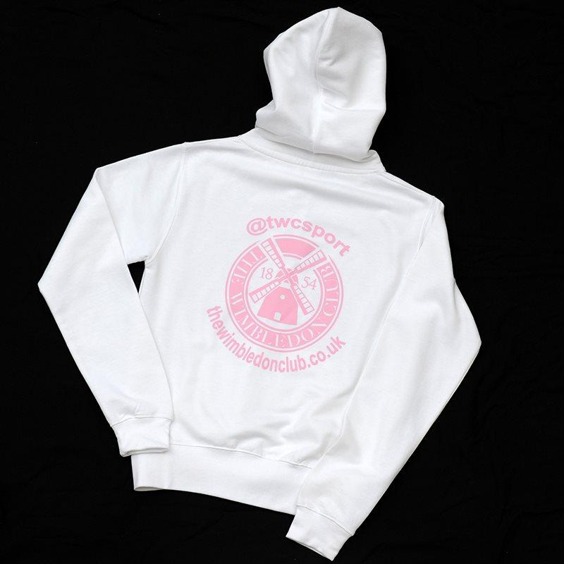 Youth Zipped Hooded Top White/Pink
