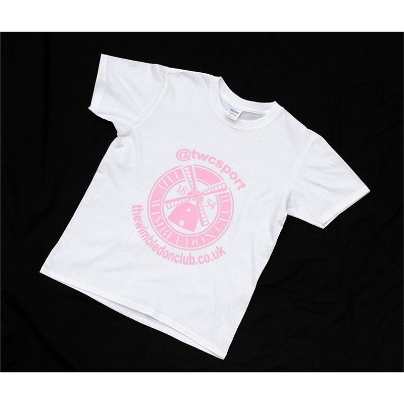 Women's T-Shirts White (Pink Print)