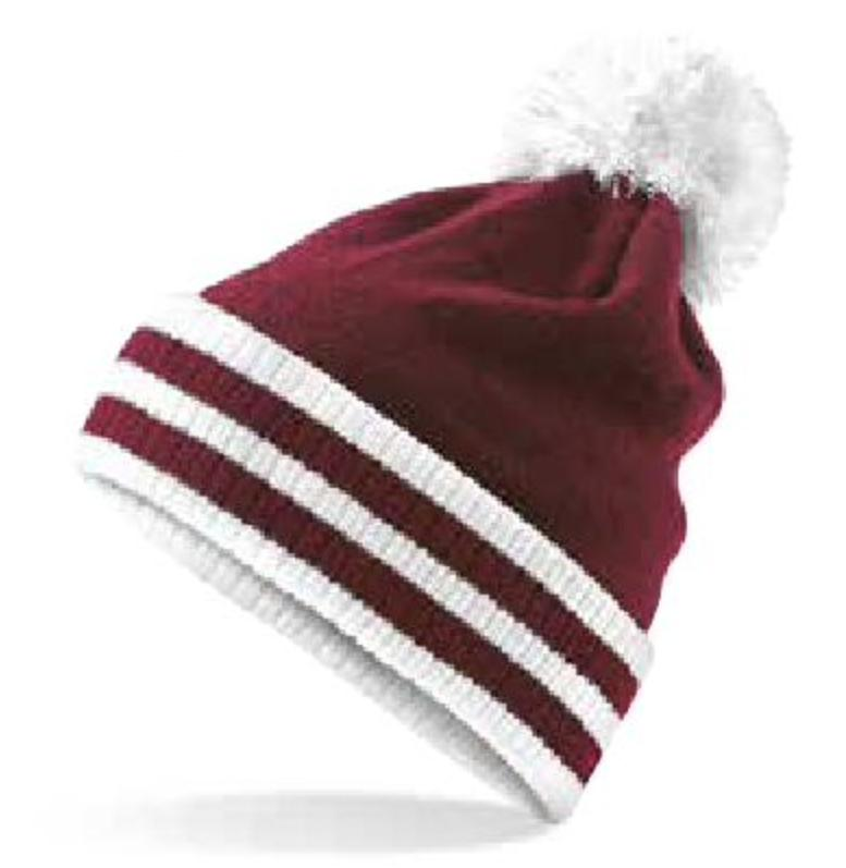 Bobble Hat Burgundy/White