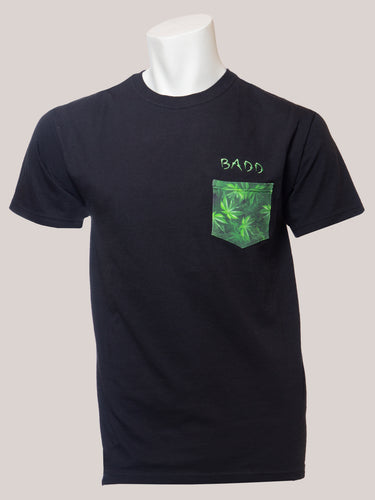 BADD Logo Men's Marijuana Pocket T-Shirt Black