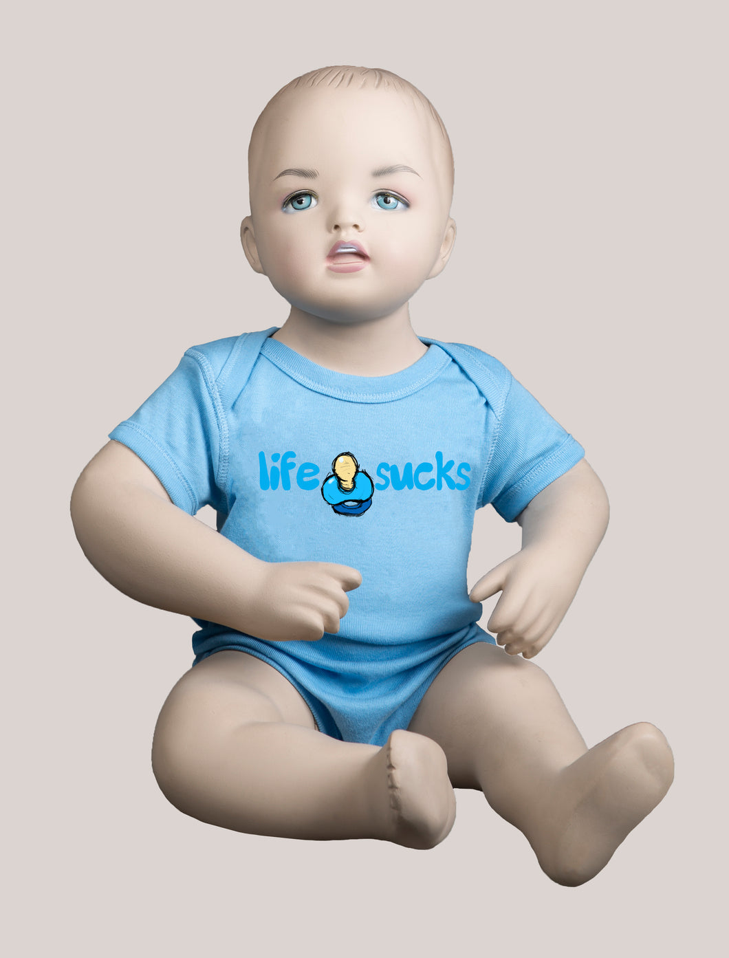 LIFE SUCKS Short-Sleeve Baby Bodysuit Blue/Blue
