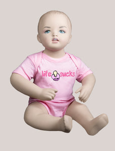 LIFE SUCKS Short-Sleeve Baby Bodysuit Pink/Pink