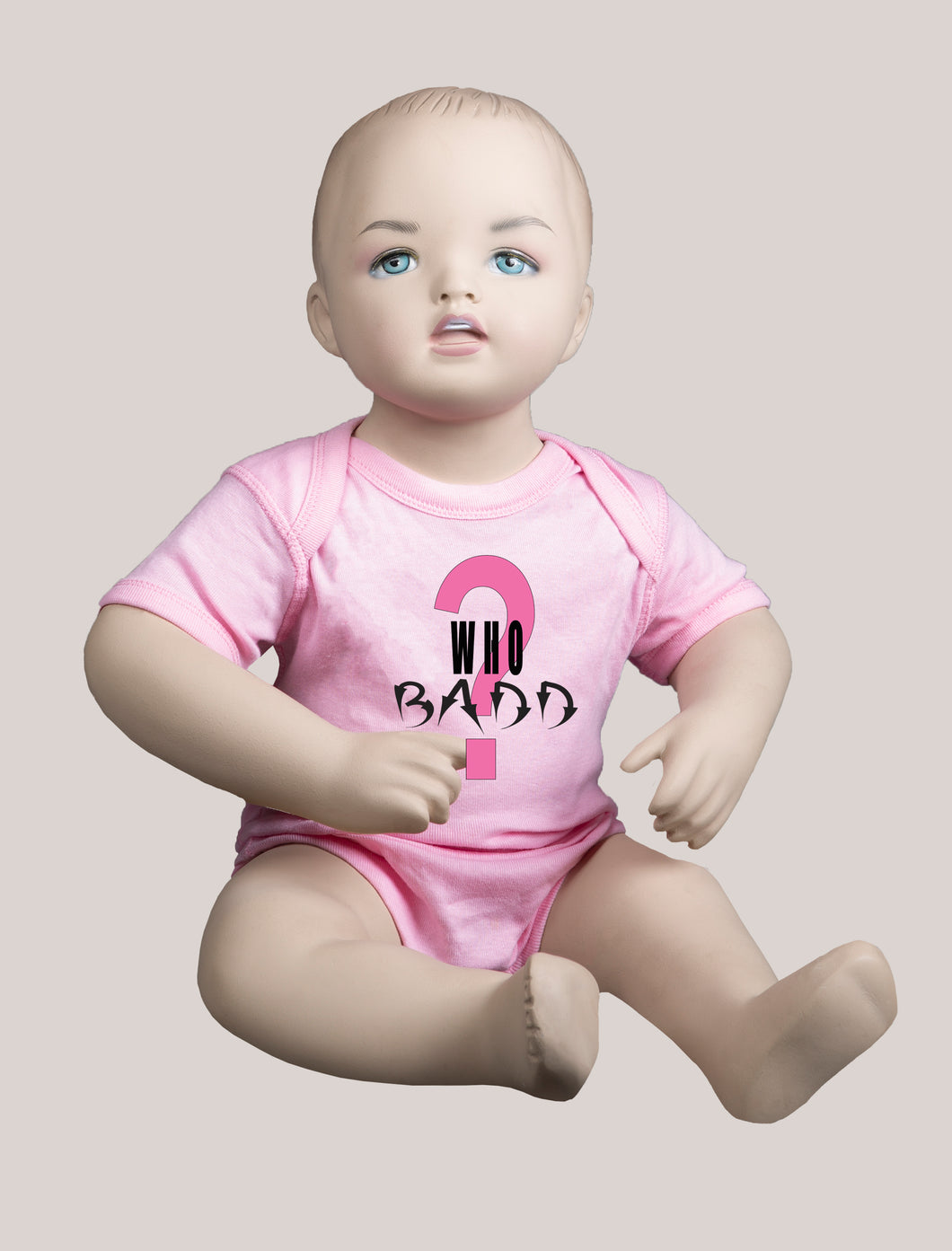 WHO BADD? Short-Sleeve Baby Bodysuit Pink/Pink