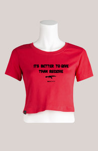 BETTER TO GIVE THAN RECEIVE Women's Cropped T-Shirt Red