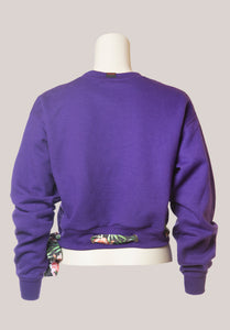 BADD Flower Print Bow Cropped Crewneck Sweater Purple