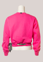 Load image into Gallery viewer, BADD Flower Print Bow Cropped Crewneck Sweater Pink