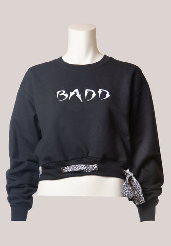 BADD Leopard Print Bow Cropped Crewneck Sweater Black