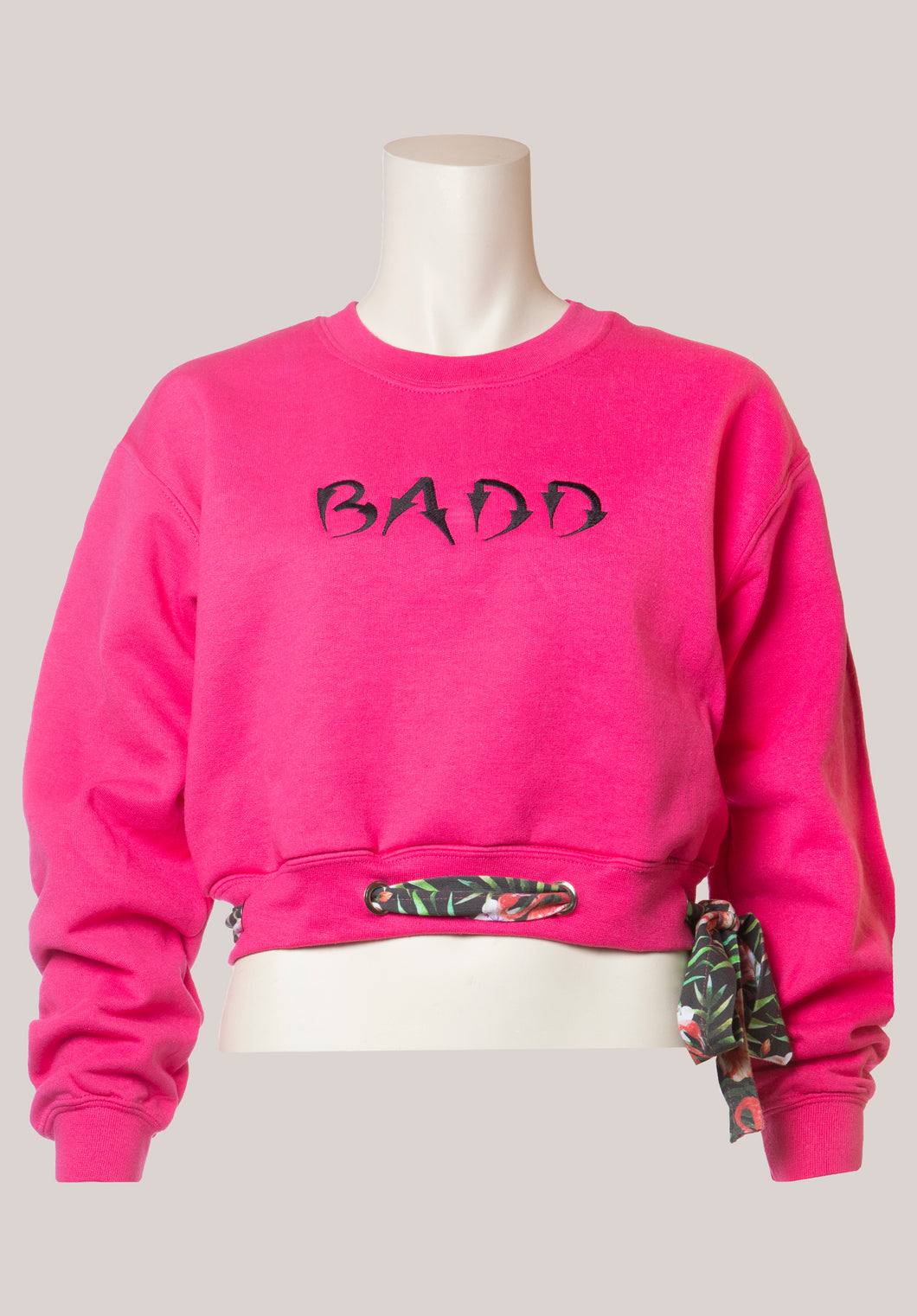 BADD Flower Print Bow Cropped Crewneck Sweater Pink
