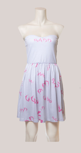 BADD Logo Strapless Dress White/Pink