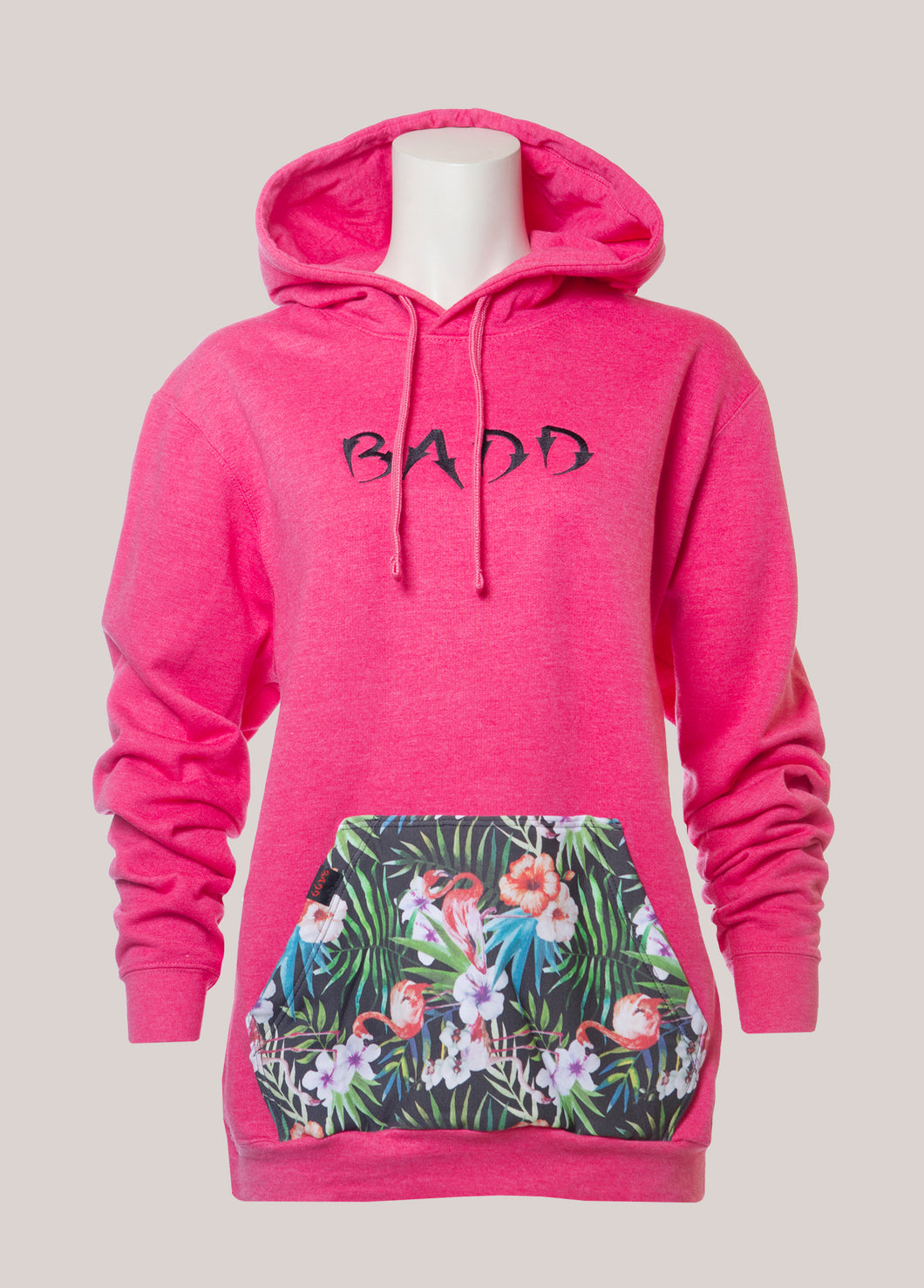 BADD Logo Women's Flower Pocket Hoodie Pink
