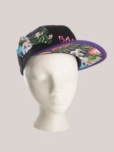 BADD Flower Print Bow Snapback Black/Purple