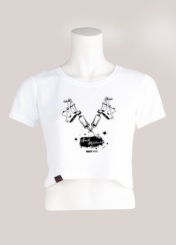 INK ADDICT Women's Tattoo Cropped T-Shirt