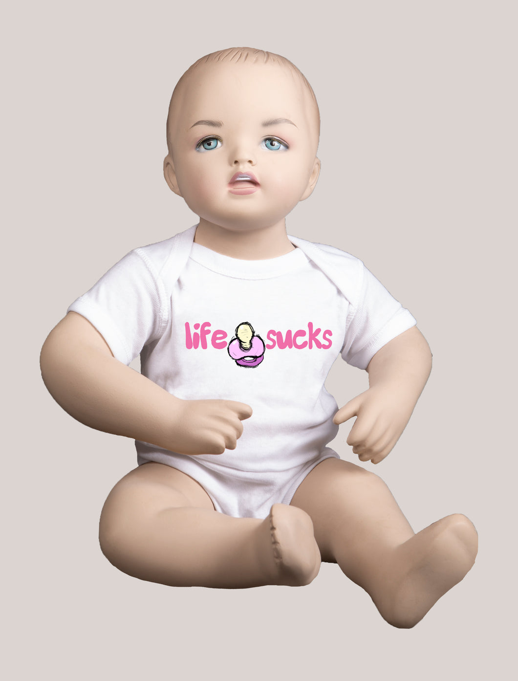 LIFE SUCKS Short-Sleeve Baby Bodysuit White/Pink