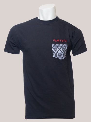 BADD Logo Men's Skull Pocket T-Shirt Black