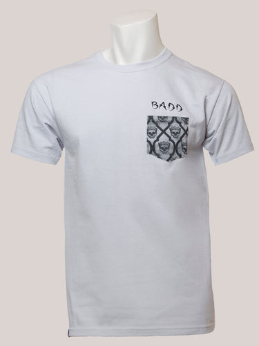 BADD Logo Men's Skull Pocket T-Shirt Grey