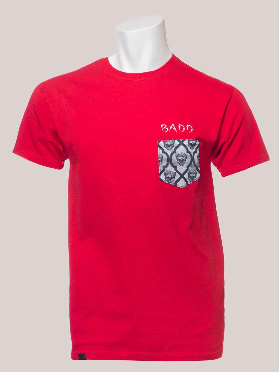 BADD Logo Men's Skull Pocket T-Shirt Red