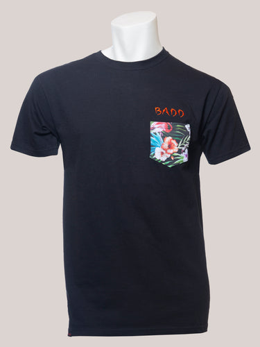 BADD Logo Men's Flower Pocket T-Shirt Black
