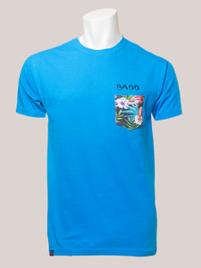 BADD Logo Men's Flower Pocket T-Shirt Blue