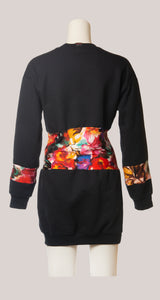 BADD Flower Print Sweater Dress Black