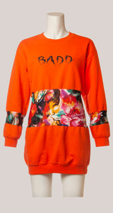 BADD Flower Print Sweater Dress Orange