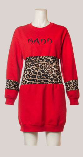 BADD Leopard Print Sweater Dress Red