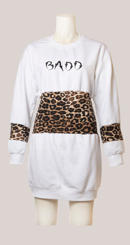 BADD Leopard Print Sweater Dress White