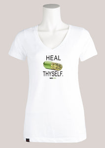 HEAL THYSELF Women's Marijuana V-Neck Tee
