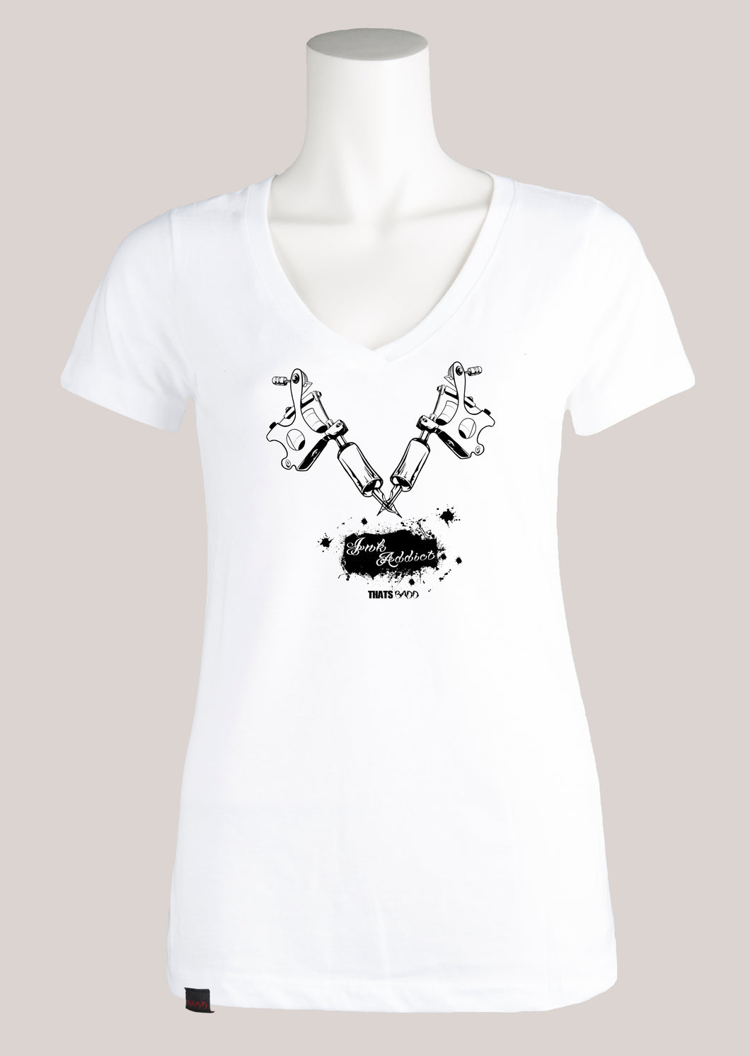 INK ADDICT Women's Tattoo V-Neck Tee