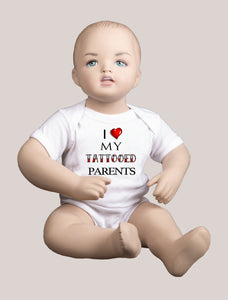 LOVE TATTOOED PARENTS Short-Sleeve Baby Bodysuit