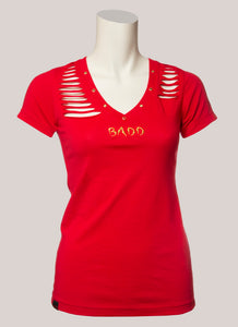 BADD Logo Women's Cut V-Neck Red