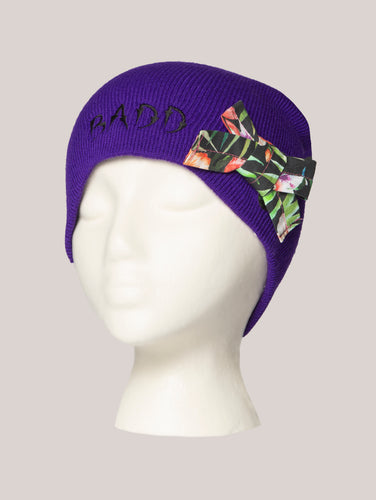 BADD Flower Print Bow Skull Cap Purple
