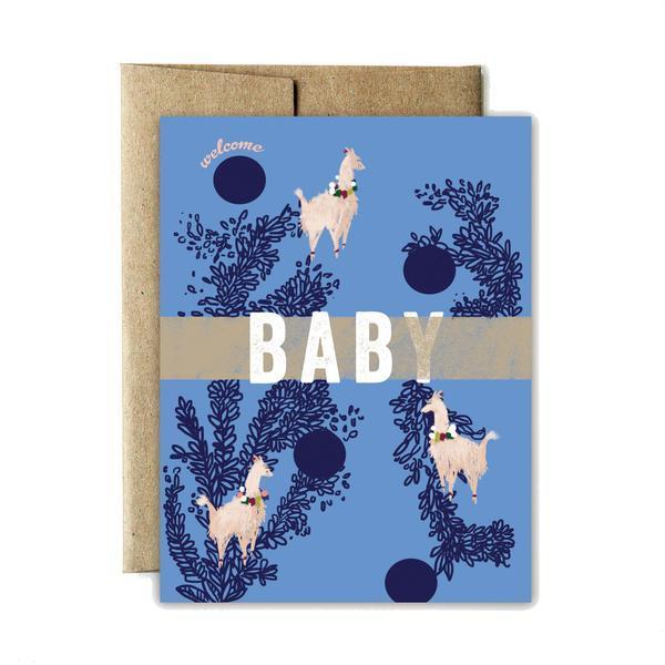 Welcome Llama Baby Greeting Card - Stella and Bobbie