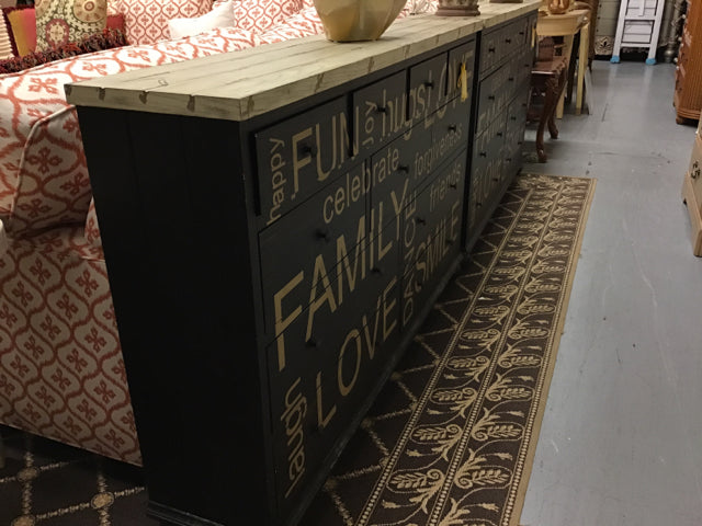 Plank Topped Dresser With Positive Words