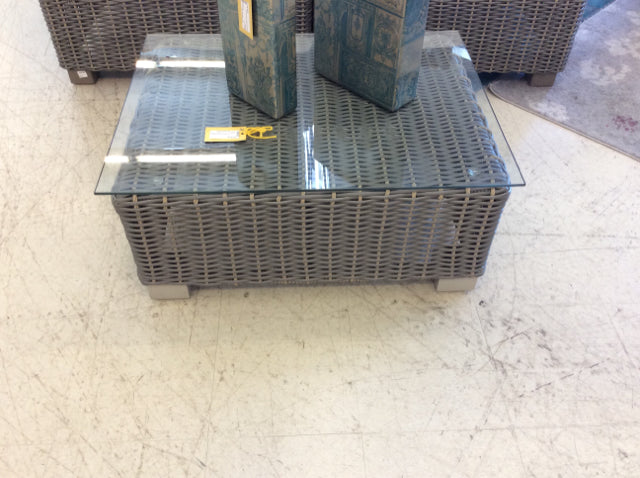 Gray Wicker Glass Top Outdoor Patio Table
