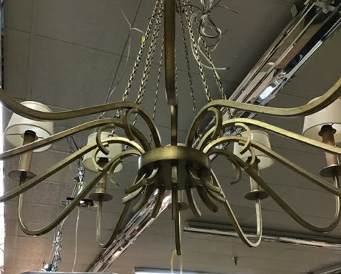 12 Gold Armed Chandelier With Beige Shades